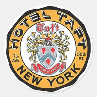 Hotel Taft de los pegatinas NYC NY del equipaje Pegatina Redonda