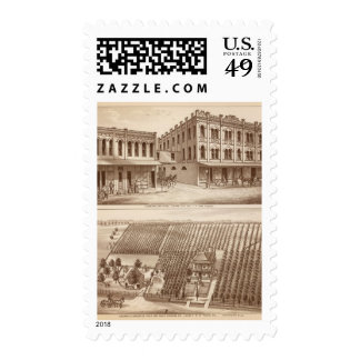 Hotel, vineyard, Tulare Postage Stamps