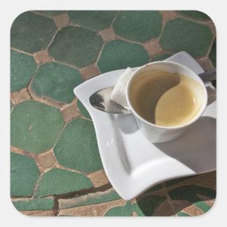 Hotel y restaurante de Kasbah, café y verde Calcomania Cuadrada Personalizada
