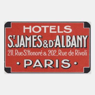 Hoteles San Jaime y d'Albaby (París Francia) Pegatina Rectangular