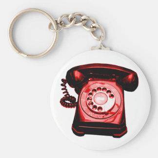 Hotline Red Basic Round Button Keychain