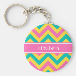 HotPink2 Teal Pineapple LG Chevron Name Monogram Basic Round Button Keychain