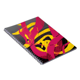Hotpink Dragon Japanese Dragon Black Background Spiral Notebook