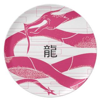 Hotpink Dragon Japanese Dragon White Background Melamine Plate