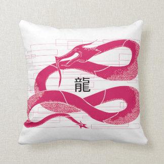 Hotpink Dragon Japanese Dragon White Background Throw Pillow