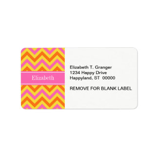 HotPink Pineapple Pumpkin LG Chevron Name Monogram Custom Address Label