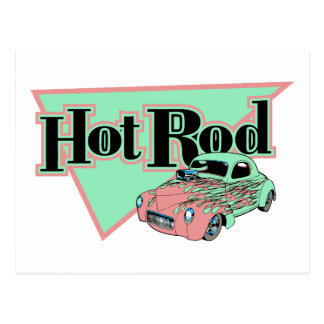 Hotrod con los regalos del coche de carreras de postal