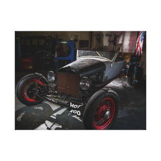 Hotrod en una lona envuelta garaje impresión en lona estirada