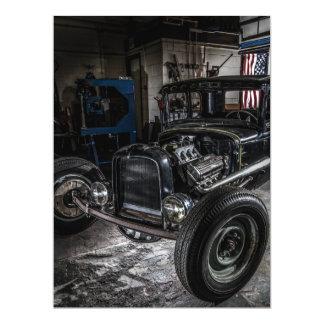"""Hotrod in a Garage Invitation 6.5"""" X 8.75"""" Invitation Card"""