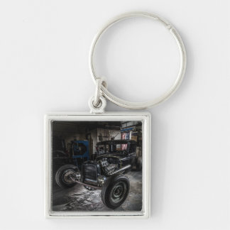 Hotrod in a Garage Keychain/Keyring Silver-Colored Square Keychain