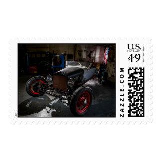 Hotrod in a Garage Postage Stamp