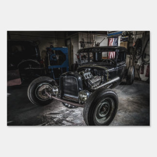 Hotrod in a Garage Yard Sign