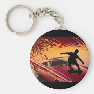 Hotrods and skateboarders basic round button keychain
