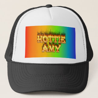 Hottie Amy fire and flames. Trucker Hat
