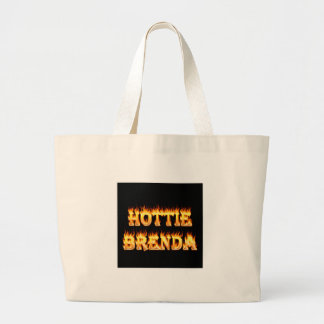 Hottie Brenda fire and flames. Large Tote Bag