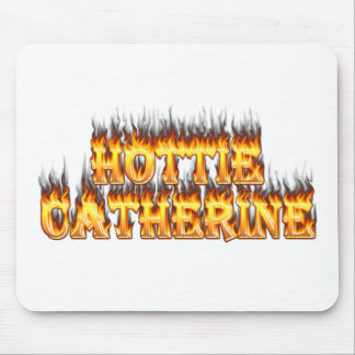 Hottie Catherine fire and flames. Mouse Pad