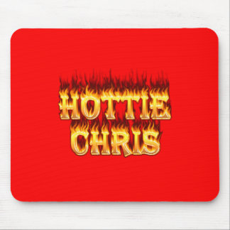 Hottie Chris fire and flames. Mouse Pad