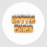 Hottie Chris fire and flames. Stickers
