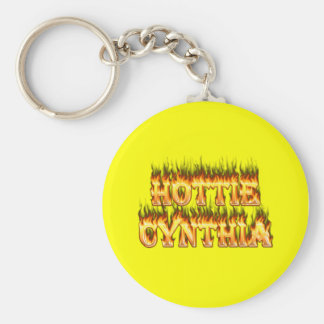 Hottie Cynthia fire and flames Keychain