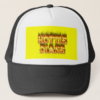 Hottie Diane fire and flames. Trucker Hat
