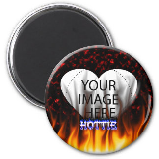 Hottie fire and flames Red marble 2 Inch Round Magnet