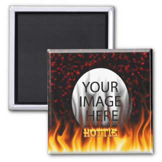 Hottie fire and flames Red marble 2 Inch Square Magnet