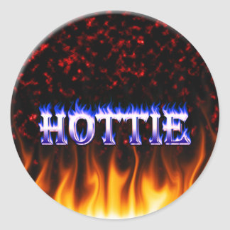 Hottie fire and flames Red marble Classic Round Sticker