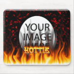 Hottie fire and flames Red marble Mouse Pad