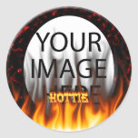 Hottie fire and flames Red marble Sticker