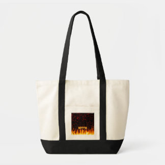 Hottie fire and flames Red marble. Tote Bag