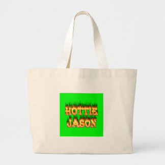 Hottie Jason fire and flames Large Tote Bag