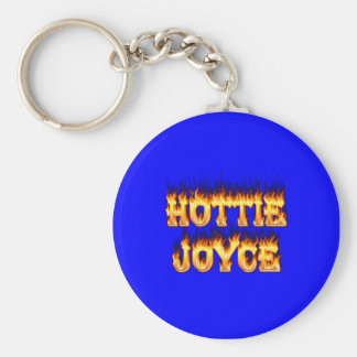 Hottie Joyce fire and flames. Basic Round Button Keychain