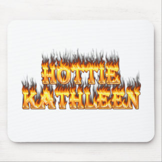 Hottie Kathleen fire and flames Mouse Pad