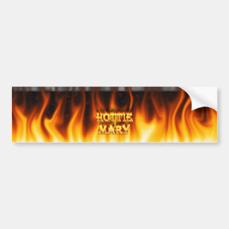 Hottie Mary fire and flames red marble Car Bumper Sticker