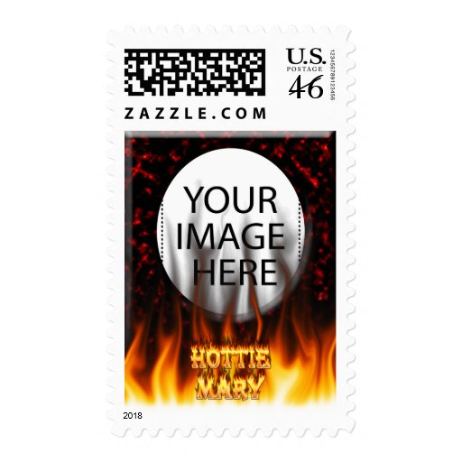 Hottie Mary fire and flames red marble Postage Stamps