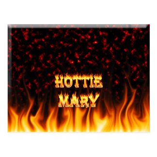 Hottie Mary fire and flames red marble Postcard