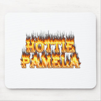 Hottie Pamela fire and flames Mouse Pad