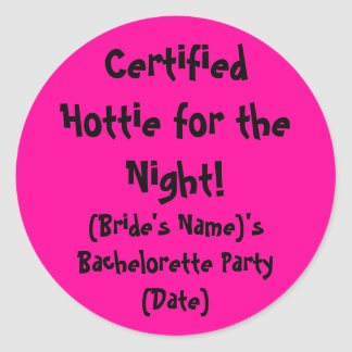 Hottie para el pegatina del fiesta de Bachelorette