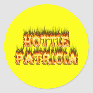Hottie Patricia fire and flames Classic Round Sticker