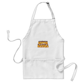 Hottie Sandra fire and flames. Adult Apron