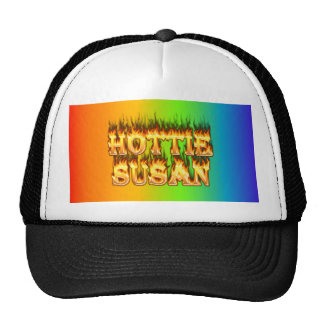 Hottie Susan fire and flames. Trucker Hat