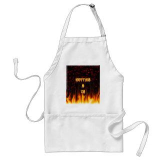 Hotties R nosotros rojo del fuego y de las llamas  Delantal