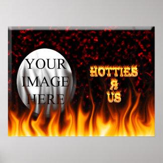 Hotties R nosotros rojo del fuego y de las llamas  Impresiones
