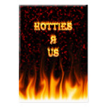 Hotties R Us fire and flames red marble Large Business Cards (Pack Of 100)