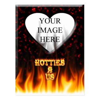 Hotties R Us fire and flames red marble Postcard