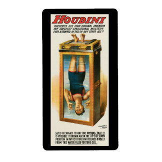 Houdini Advertising poster , 1913 Shipping Label