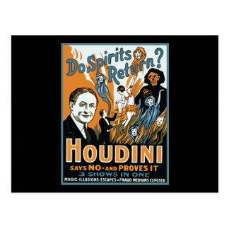 Houdini hace vuelta de las bebidas espirituosas postal