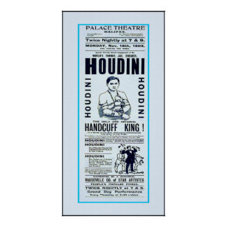 Houdini ~ Handcuff King ~ Vintage Magician Poster