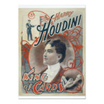 Houdini, King of Card Vintage Advertisement Invite