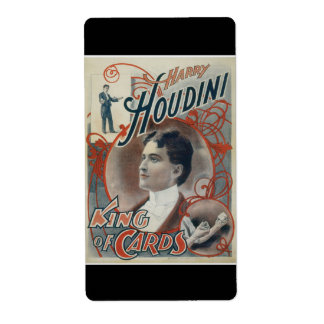 Houdini, King of Card Vintage Advertisement Label